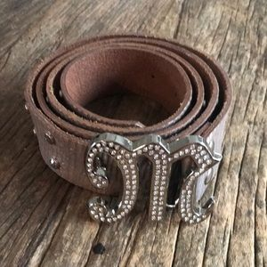 Miss Me Silver Leather Belt Rhinestone M Logo